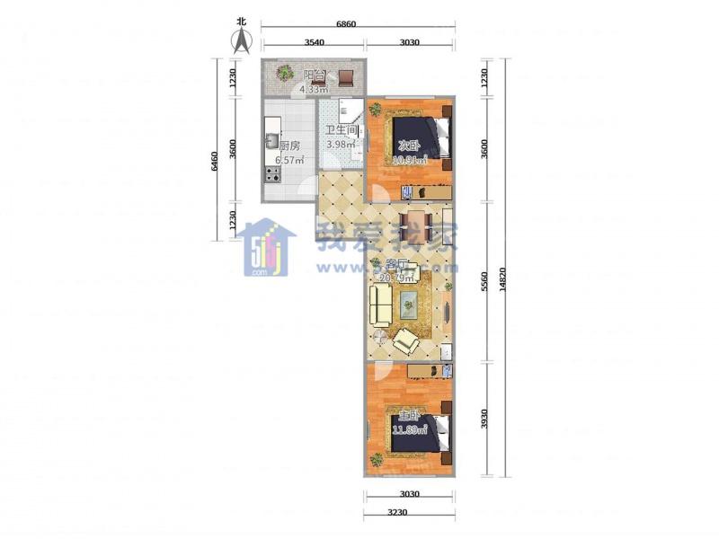 租金(元/月) 2室1厅 户型 78 面积(平米) 押2付3 支付方式 小区:金苑