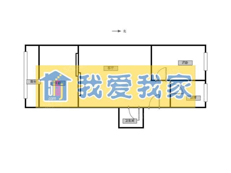 房山城关永安西里社区 二室一厅 南北向