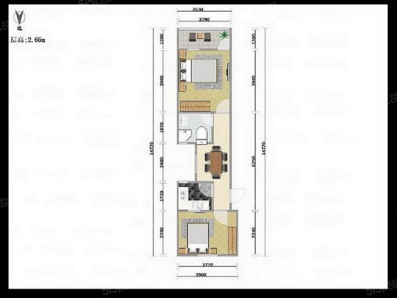 56平米两房一厅设计图
